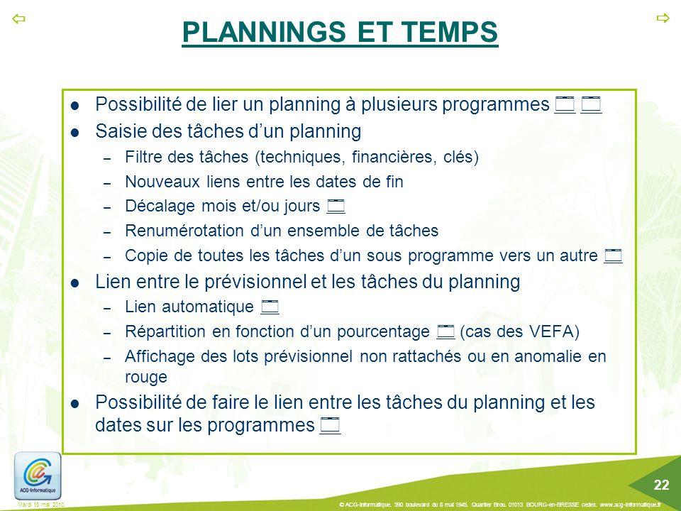 PLANNINGS ET TEMPS Possibilité de lier un planning à plusieurs programmes   Saisie des tâches d'un planning.