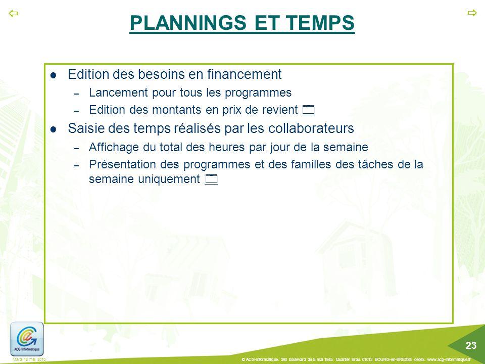 PLANNINGS ET TEMPS Edition des besoins en financement