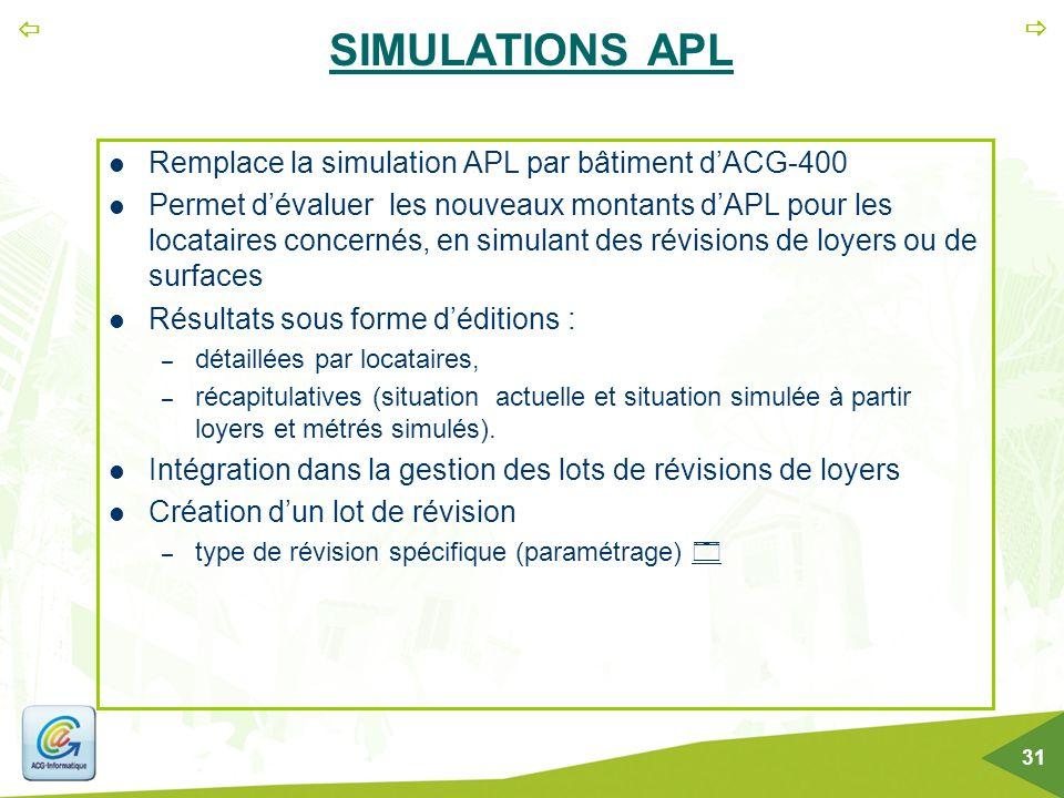 SIMULATIONS APL Remplace la simulation APL par bâtiment d'ACG-400