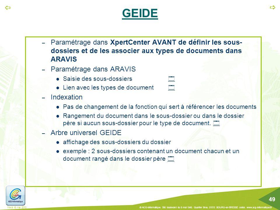 GEIDE Paramétrage dans XpertCenter AVANT de définir les sous-dossiers et de les associer aux types de documents dans ARAVIS.