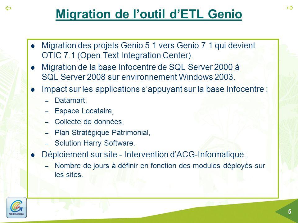 Migration de l'outil d'ETL Genio