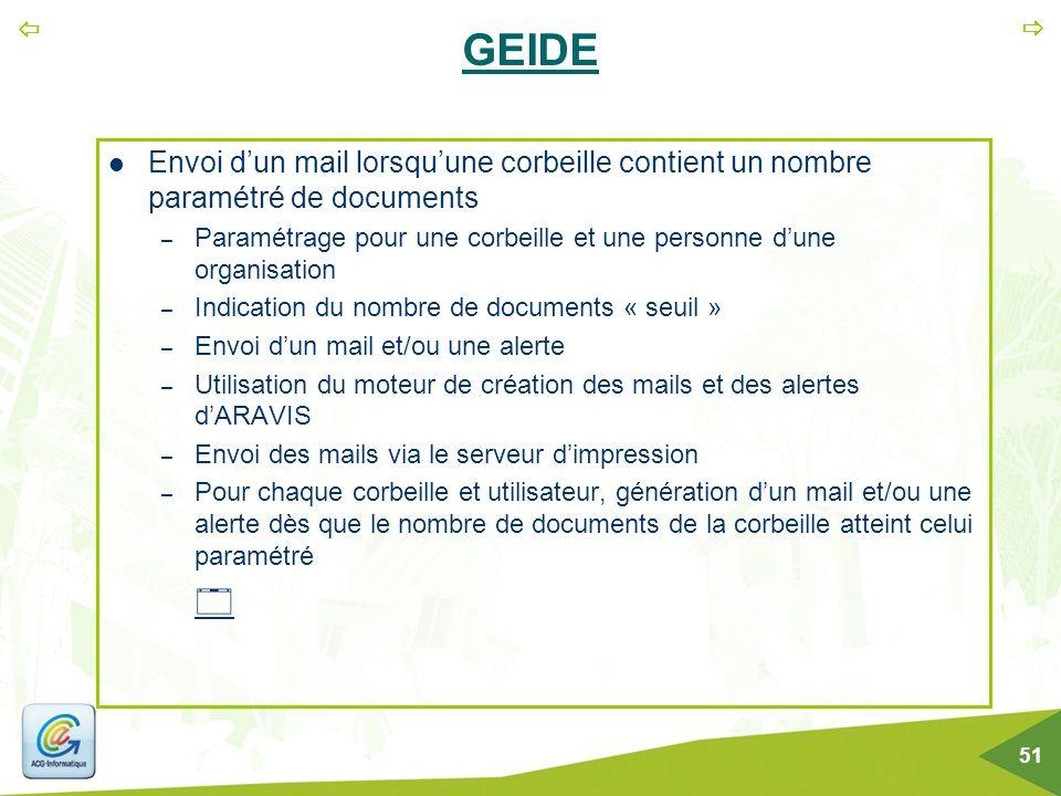 GEIDE Envoi d'un mail lorsqu'une corbeille contient un nombre paramétré de documents.