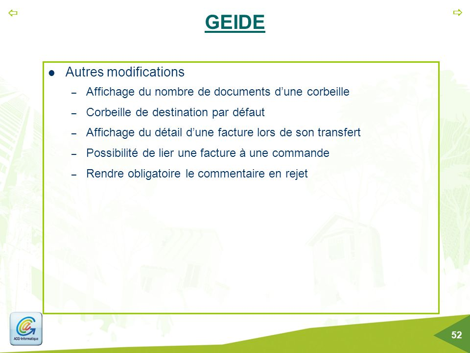GEIDE Autres modifications