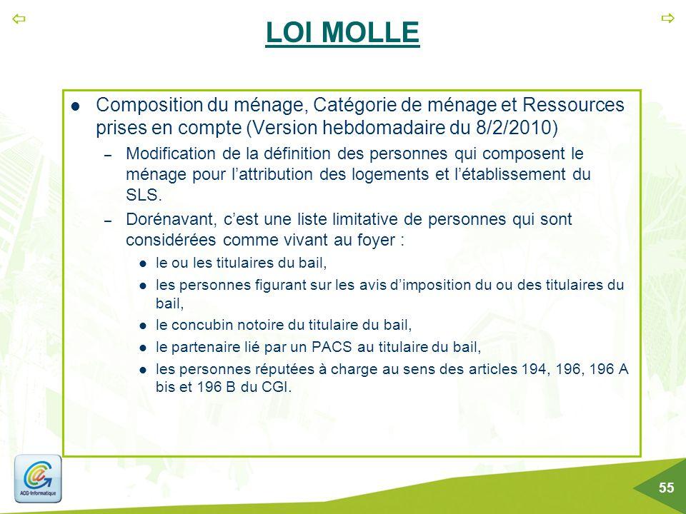 LOI MOLLE Composition du ménage, Catégorie de ménage et Ressources prises en compte (Version hebdomadaire du 8/2/2010)