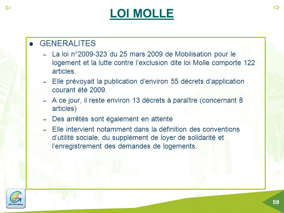 LOI MOLLE GENERALITES.