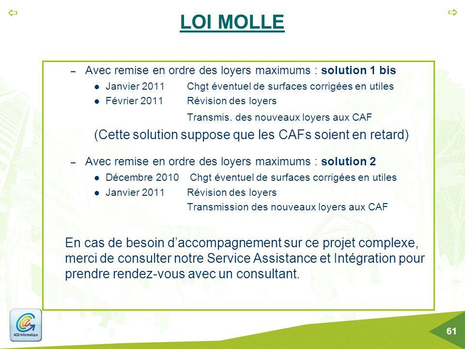 LOI MOLLE (Cette solution suppose que les CAFs soient en retard)