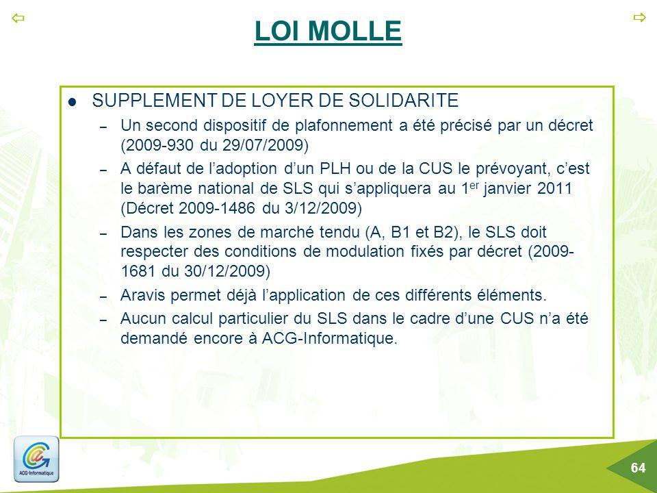 LOI MOLLE SUPPLEMENT DE LOYER DE SOLIDARITE