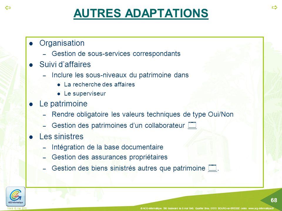 AUTRES ADAPTATIONS Organisation Suivi d'affaires Le patrimoine