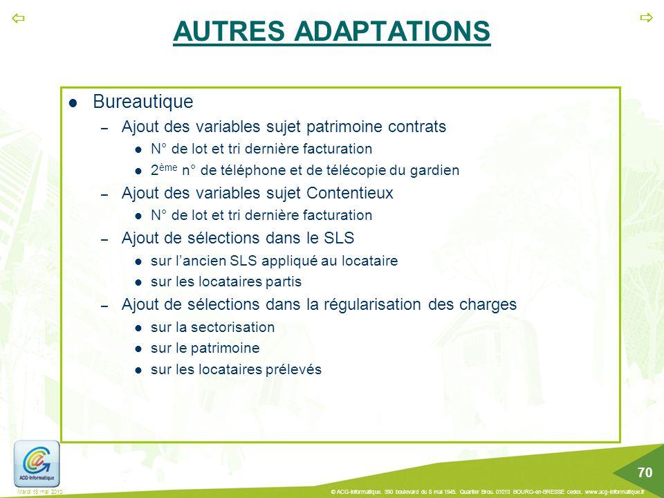 AUTRES ADAPTATIONS Bureautique