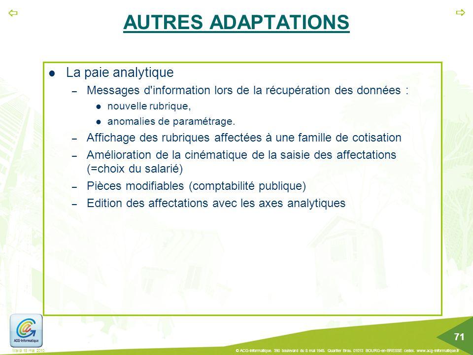 AUTRES ADAPTATIONS La paie analytique