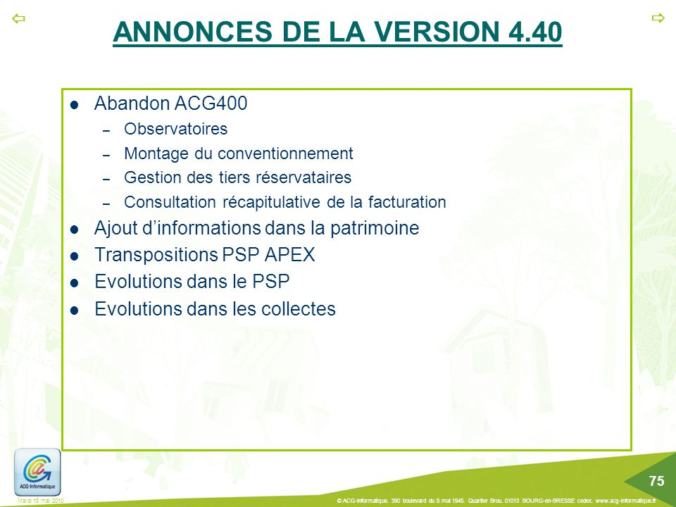 ANNONCES DE LA VERSION 4.40 Abandon ACG400