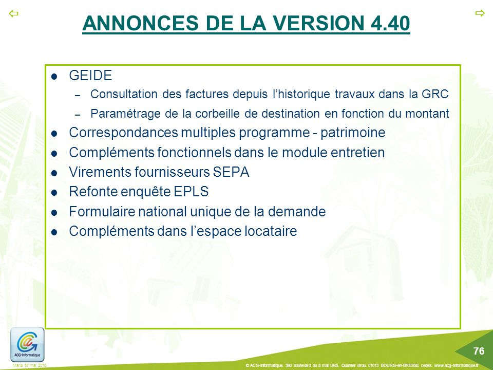 ANNONCES DE LA VERSION 4.40 GEIDE
