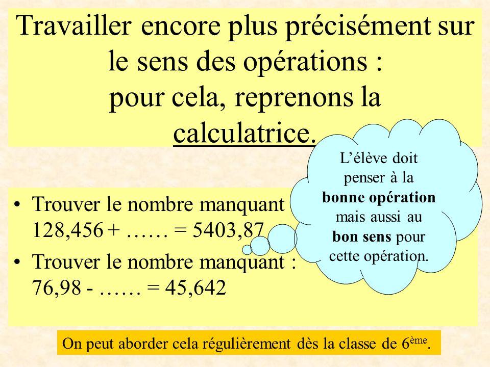 Travailler encore plus précisément sur le sens des opérations : pour cela, reprenons la calculatrice.