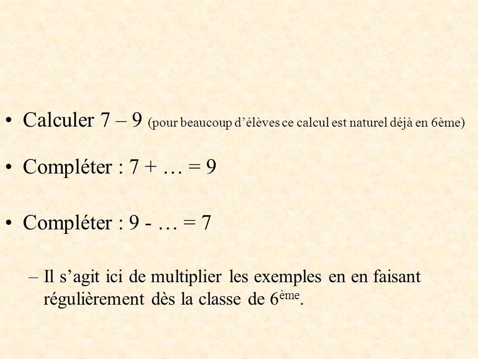 Calculer 7 – 9 (pour beaucoup d'élèves ce calcul est naturel déjà en 6ème)