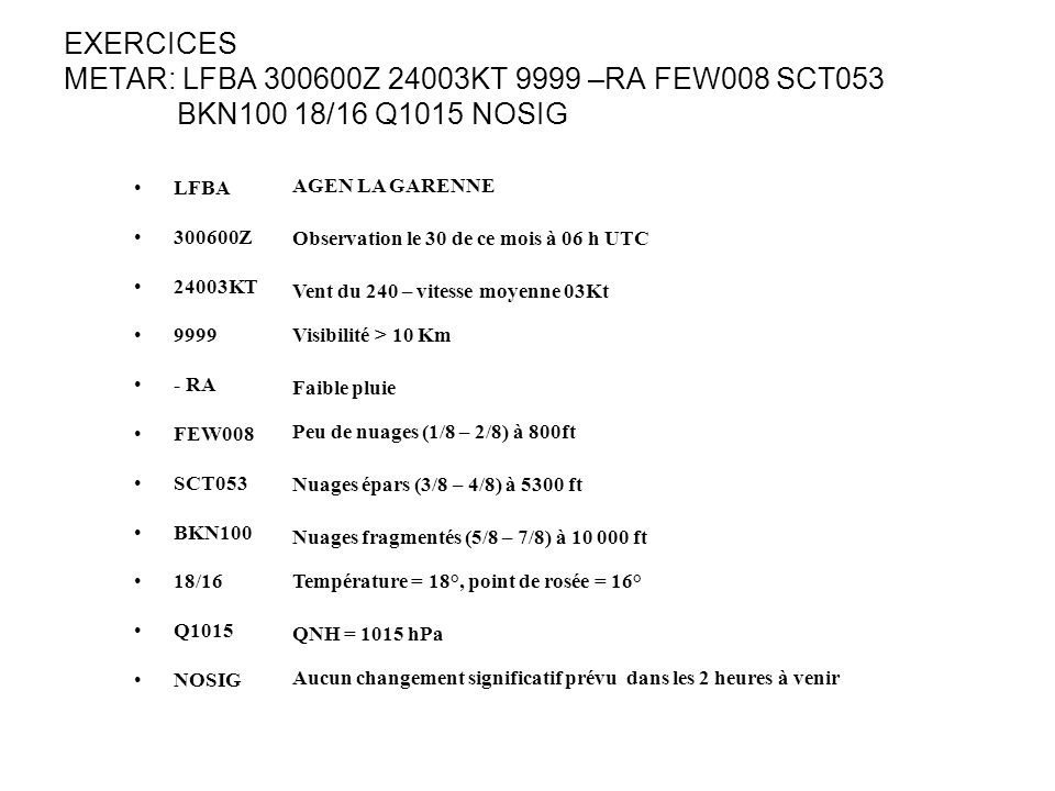 EXERCICES METAR: LFBA 300600Z 24003KT 9999 –RA FEW008 SCT053 BKN100 18/16 Q1015 NOSIG