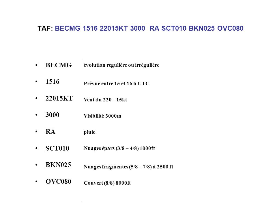 TAF: BECMG 1516 22015KT 3000 RA SCT010 BKN025 OVC080