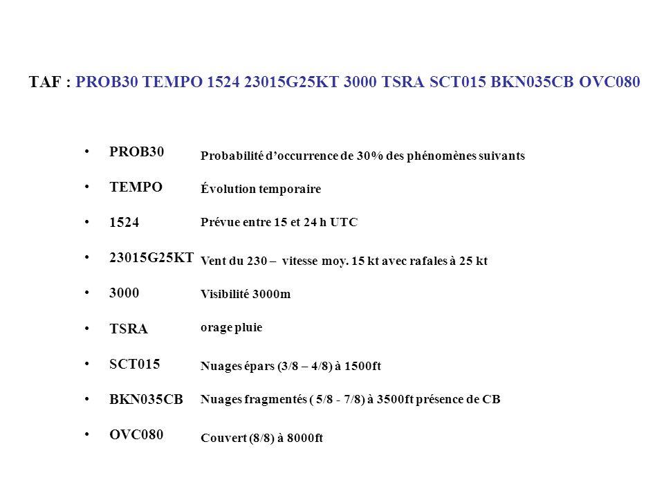 TAF : PROB30 TEMPO 1524 23015G25KT 3000 TSRA SCT015 BKN035CB OVC080