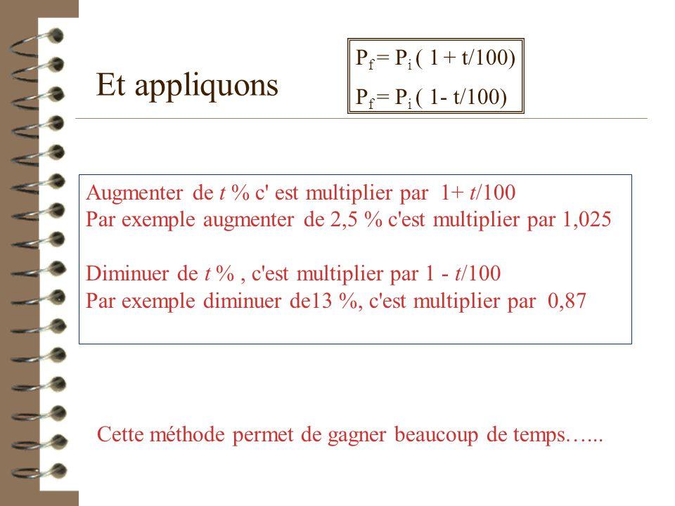 Et appliquons Pf = Pi ( 1 + t/100) Pf = Pi ( 1- t/100)