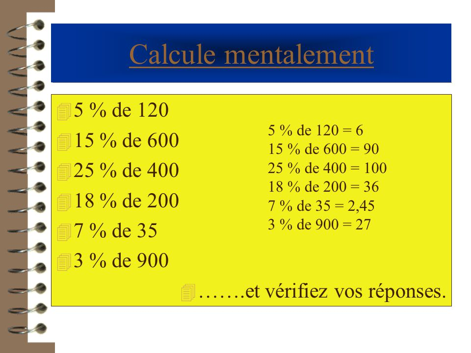 Calcule mentalement 5 % de 120 15 % de 600 25 % de 400 18 % de 200