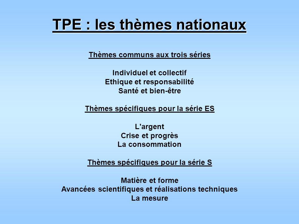 TPE : les thèmes nationaux