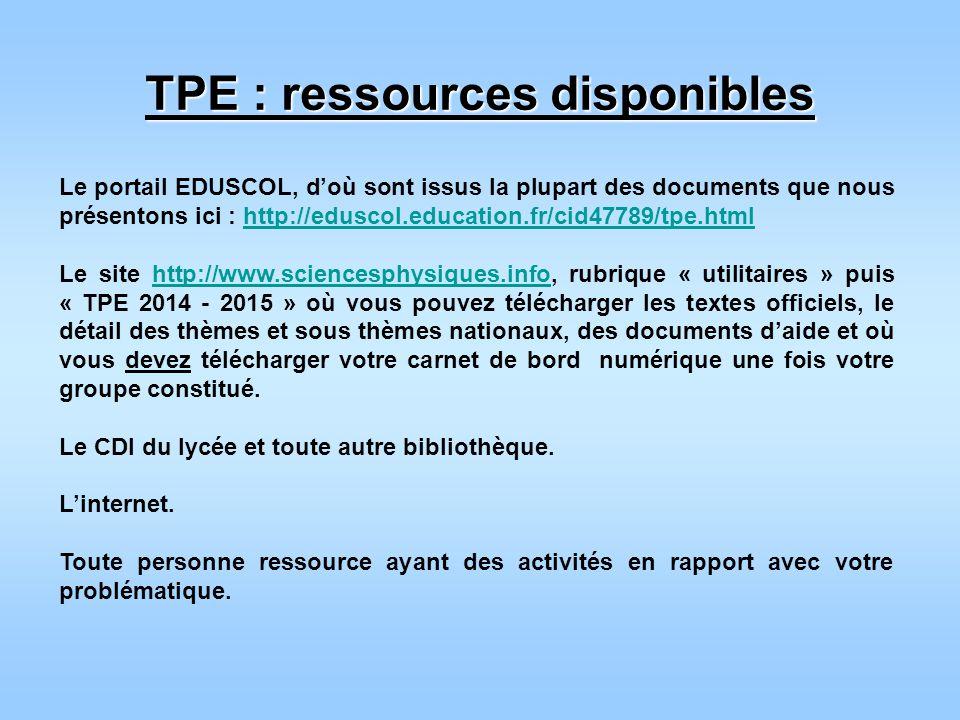 TPE : ressources disponibles