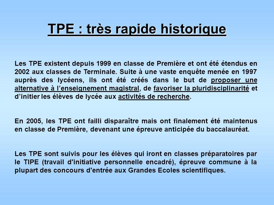 TPE : très rapide historique