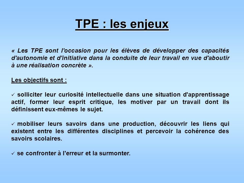 TPE : les enjeux