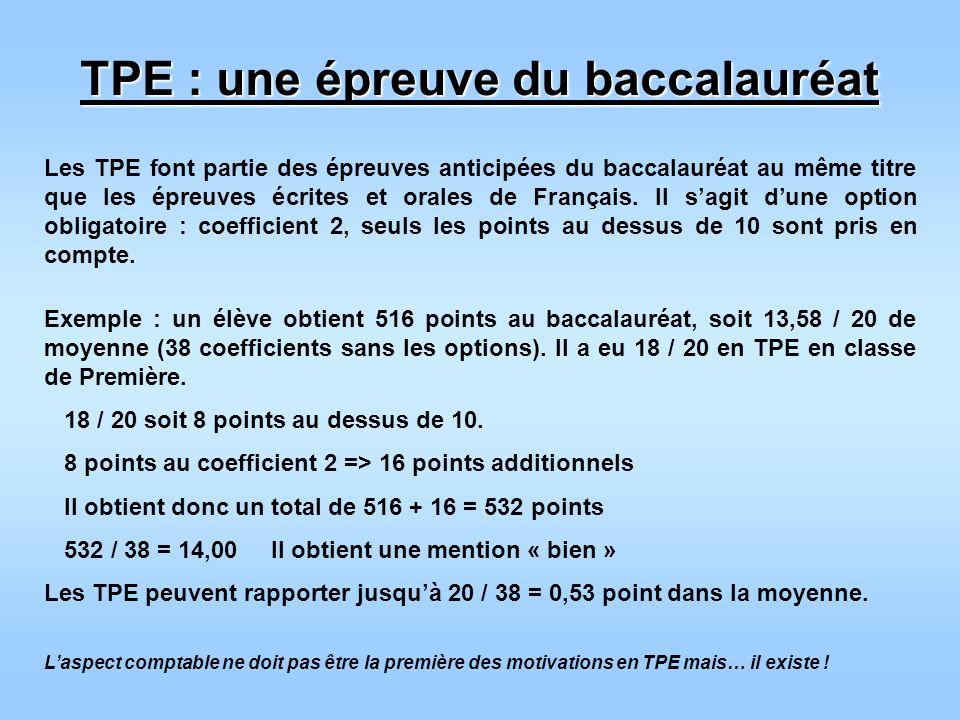 TPE : une épreuve du baccalauréat