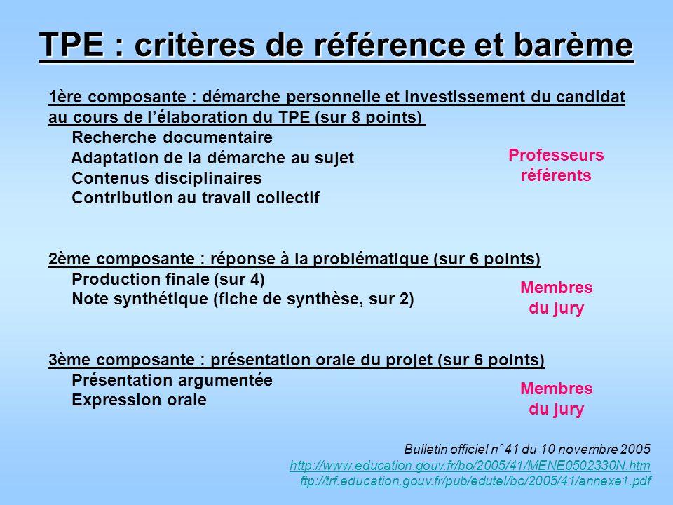 TPE : critères de référence et barème