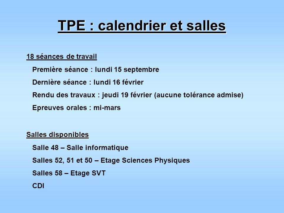 TPE : calendrier et salles