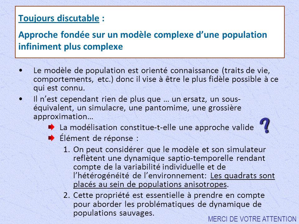 Toujours discutable : Approche fondée sur un modèle complexe d'une population infiniment plus complexe