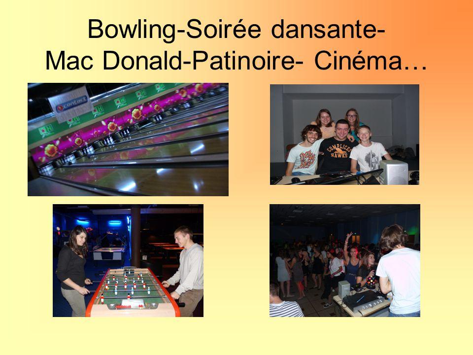 Bowling-Soirée dansante- Mac Donald-Patinoire- Cinéma…