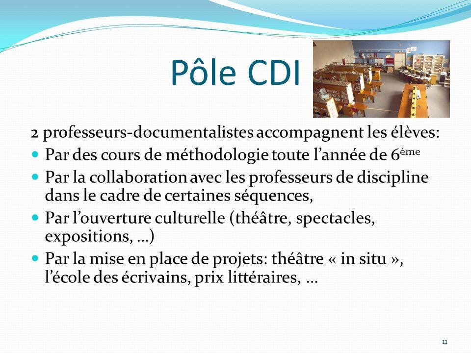 Pôle CDI 2 professeurs-documentalistes accompagnent les élèves: