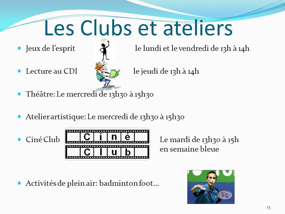 Les Clubs et ateliers Jeux de l'esprit le lundi et le vendredi de 13h à 14h. Lecture au CDI le jeudi de 13h à 14h.