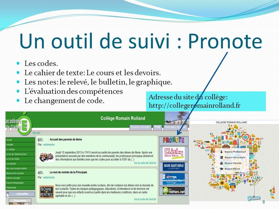 Un outil de suivi : Pronote