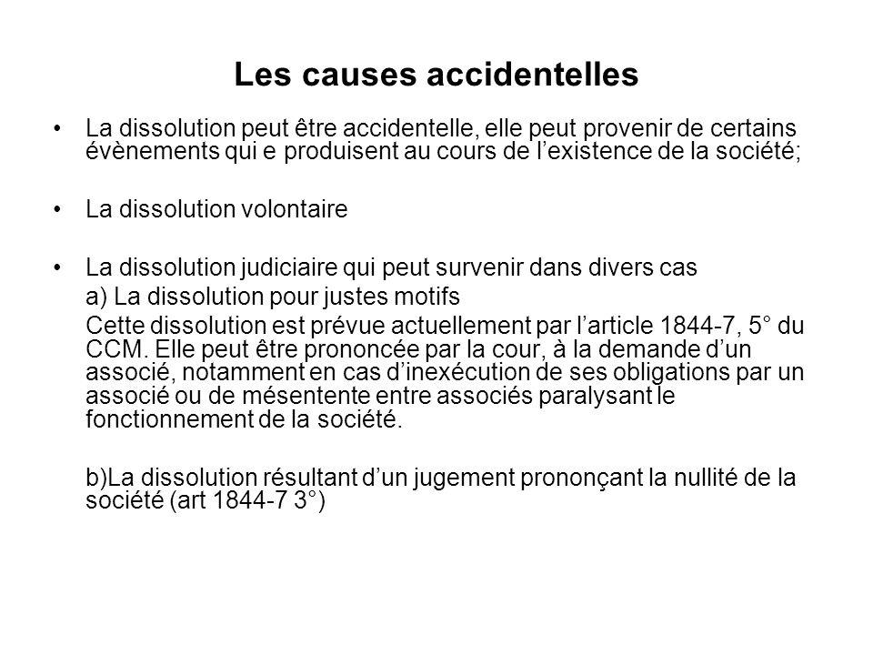 Les causes accidentelles