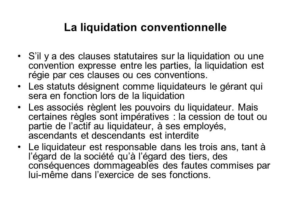 La liquidation conventionnelle