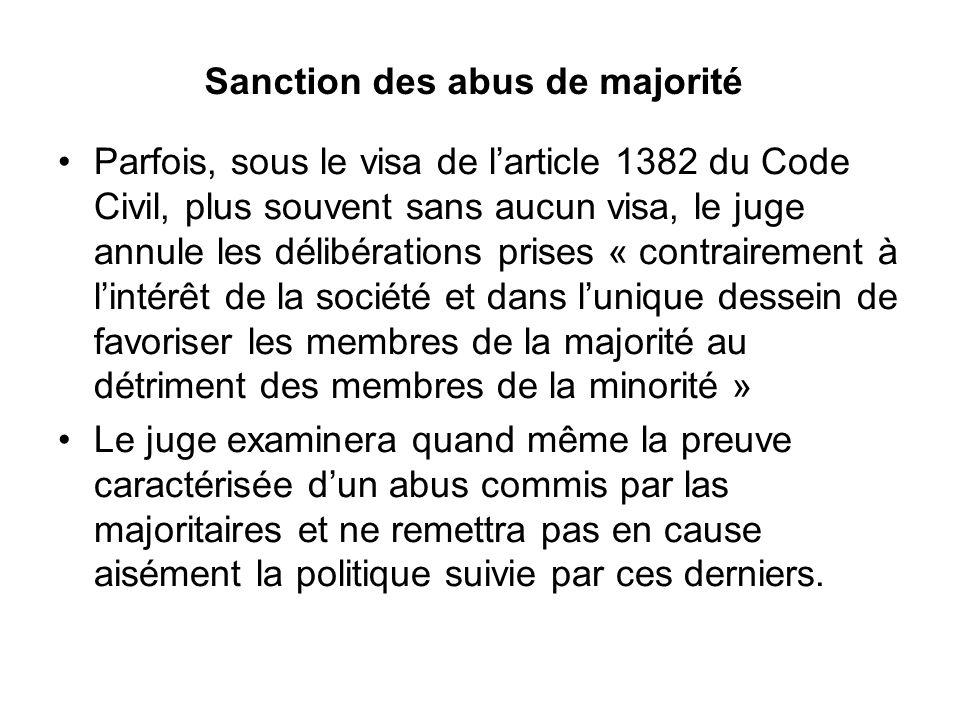 Sanction des abus de majorité