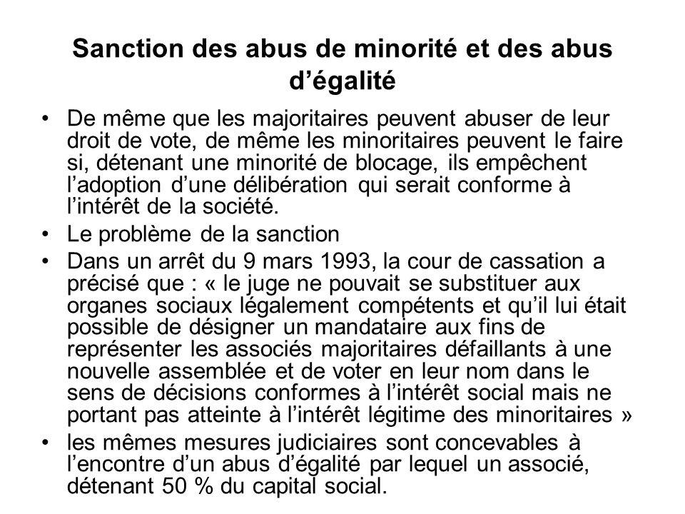 Sanction des abus de minorité et des abus d'égalité