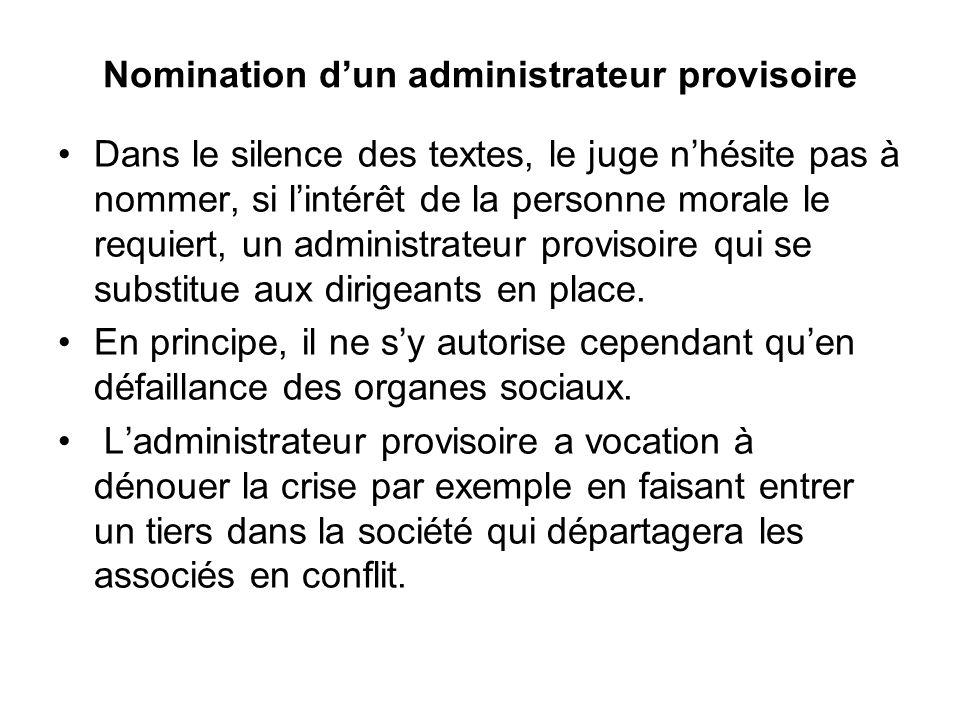 Nomination d'un administrateur provisoire