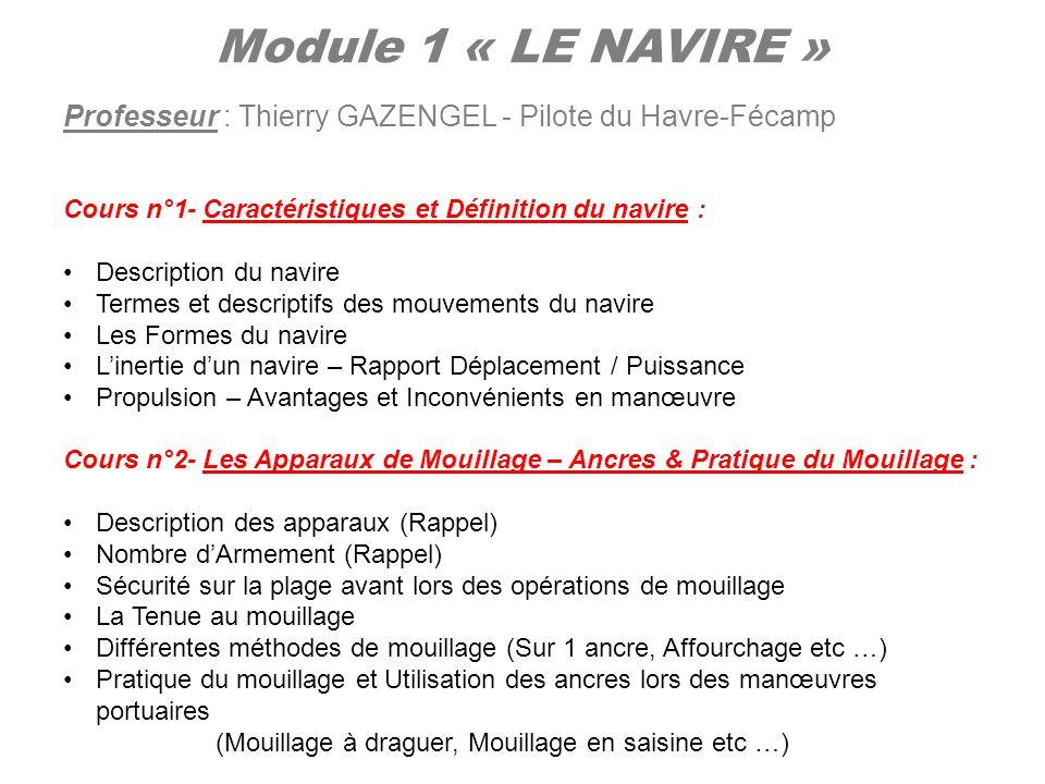 Module 1 « LE NAVIRE » Professeur : Thierry GAZENGEL - Pilote du Havre-Fécamp. Cours n°1- Caractéristiques et Définition du navire :