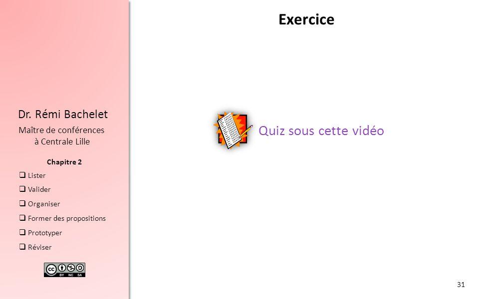 Exercice Quiz sous cette vidéo