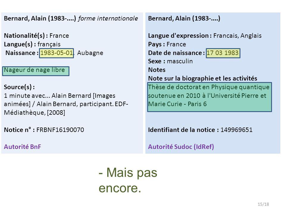 Bernard, Alain (1983-....) forme internationale Nationalité(s) : France Langue(s) : français Naissance : 1983-05-01, Aubagne