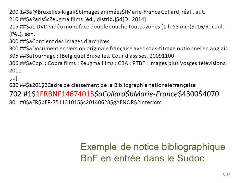 Exemple de notice bibliographique BnF en entrée dans le Sudoc