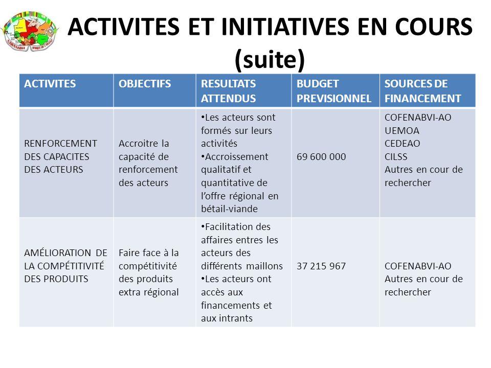 ACTIVITES ET INITIATIVES EN COURS (suite)