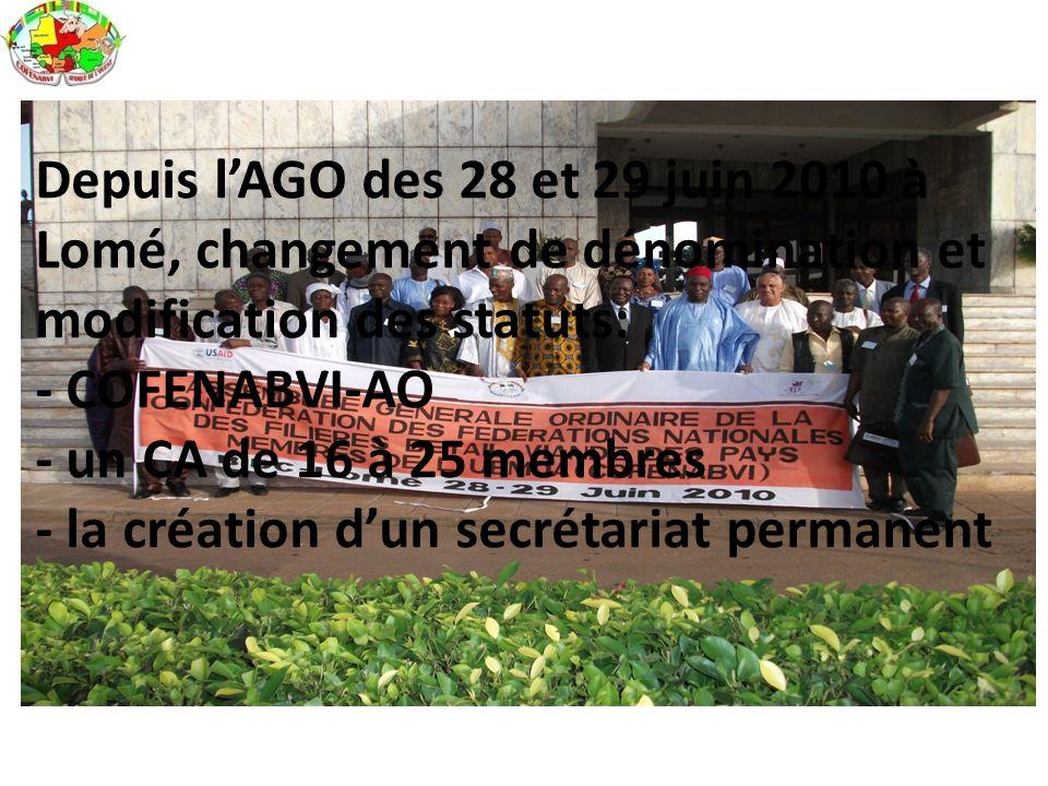 Depuis l'AGO des 28 et 29 juin 2010 à Lomé, changement de dénomination et modification des statuts: - COFENABVI-AO - un CA de 16 à 25 membres - la création d'un secrétariat permanent