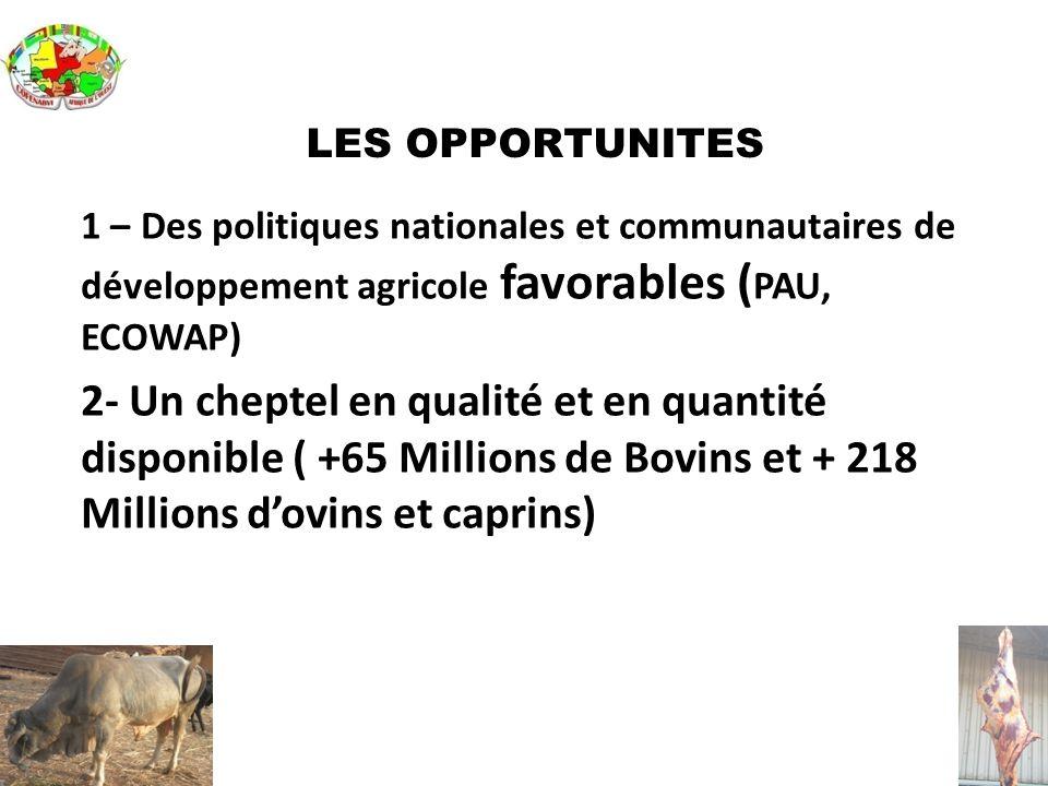 LES OPPORTUNITES 1 – Des politiques nationales et communautaires de développement agricole favorables (PAU, ECOWAP)