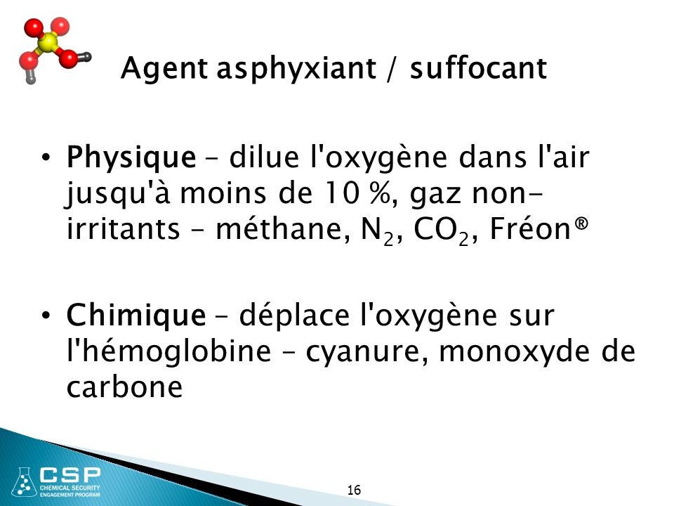 Agent asphyxiant / suffocant