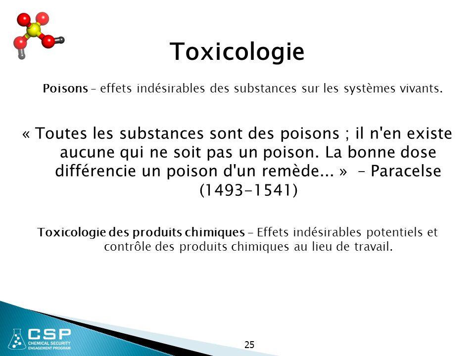 Poisons – effets indésirables des substances sur les systèmes vivants.