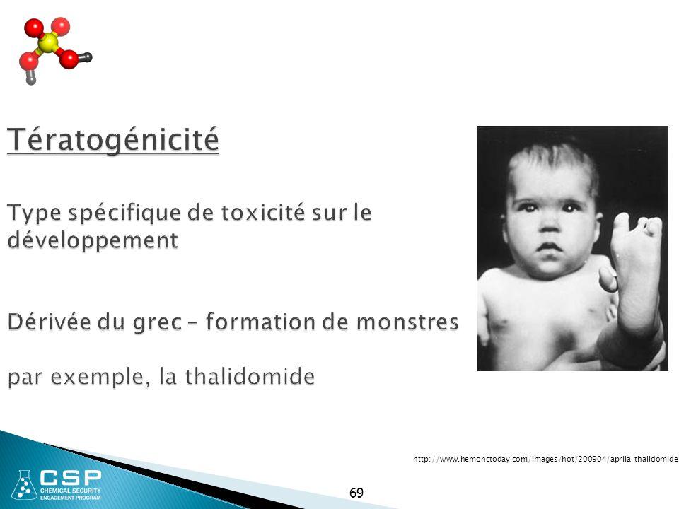 Tératogénicité Type spécifique de toxicité sur le développement Dérivée du grec – formation de monstres par exemple, la thalidomide